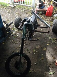 Bigger drift trike dirt frame with 10hp Briggs on it.