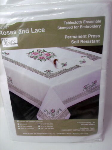 """Tobin Stamped Cross Stitch Embroidery Tablecloth ROSES AND LACE 50"""" x 70"""""""