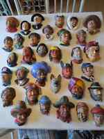 Chalkware - Large Lot of Misc Wall Heads