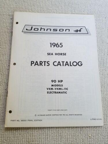 1965 Johnson 90 HP Outboard Parts Catalog sea horse v4m v4ml 11c electramatic