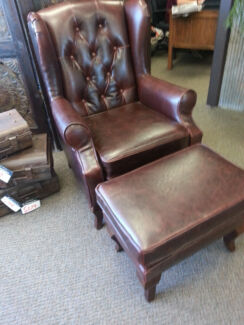 Leather wing back with foot stool Midland Swan Area Preview