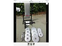 Foldable weight bench barbell dumbell and weights
