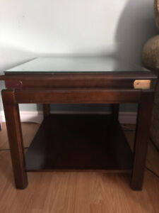 """Cherry Wood Side Table, Brass Corners ; Size: Rectangle (21"""" x 2"""