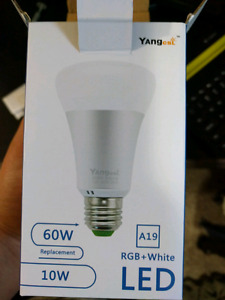 Smart Led light bulb changing colors with remote