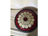 Red Tiffany Bistro Style Uplighter Ceiling Light Pendant Shade( Large)