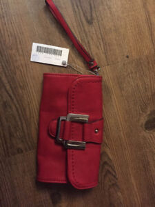 WOMENS RED LEATHER WRISTLET/wallet  BRAND NEW TAGS ON