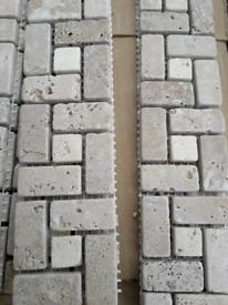 Natural stone mosaic border tile beige