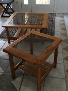 Oak and glass coffee table and end table