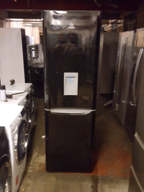 BLACK INDESIT 6FT TALL FRIDGE FREEZER WITH WATER DISPENSER
