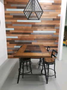 Dining table with wine rack 4 swivel chairs
