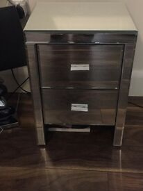 Mirrored bedside tables x2