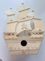 Paintable Wooden Pirate Ship