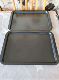Large Oven Trays Grey x2 Unused. Quick Sale ideally please.