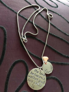 Necklace With Hand Stamped Pendant & Charms - The Love Between A