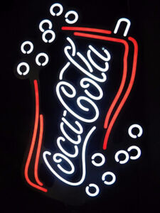 COKE COCA COLA DOUBLE BELL SODA GLASS LIGHT UP SIGN WITH MOTION