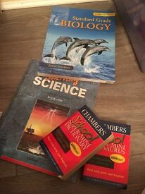 Collection of study books and dictionary