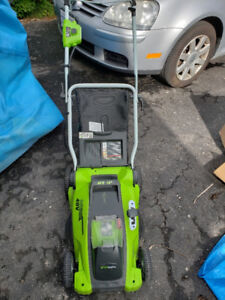2 Set Greenwork 40V Lawn Mower and Tiller /w Battery and Charger