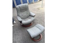 Leather reclining chair and footstool