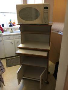 Microwave stand, microwave and toaster oven