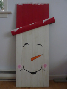 Wooden Snowman decoration For Sale