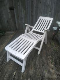 White Plastic Garden Sun Lounger