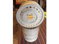"""Vw T2 camper steel wheels 14"""" white"""