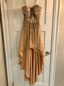 Sherri Hill Gold Sequin Prom Dress