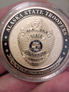 Large 40mm Alaska State Troopers Saint Michael Gold Plated Coin.