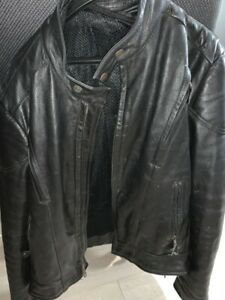 Men's black leather motorcycle jacket