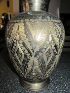 "Beautiful vintage brass vase 9"" high."