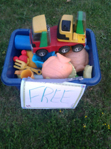 Bin of sand toys/outdoor toys