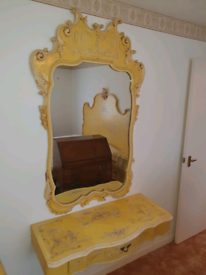 43. 1930's Italian antique hand painted mirror and floating table