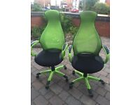 2 funky green computer/office chairs