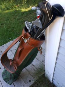Vintage arnold palmer golf bag and right clubs