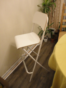 IKEA - FRANKLIN Bar stool with backrest, foldable white, white