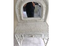 White wicker dressing table