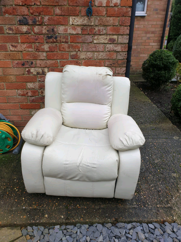 White leather arm chair   in Ashford, Kent   Gumtree