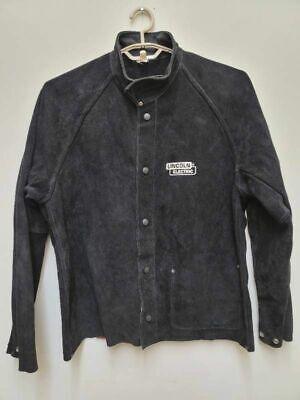 Lincoln Electric Mens Heavy Duty Welding Jacket Black Pocket Mock Neck Leather L