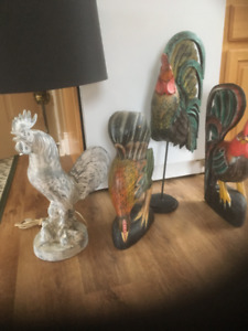 Folk Art Rooster Collection 3 pieces / 1 lamp