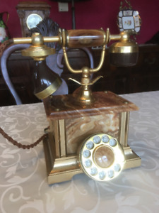 Vintage Marble Rotary Cradle Telephone
