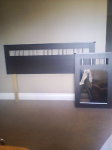 Double bed headboard w rails+ matching hanging  mirror $85