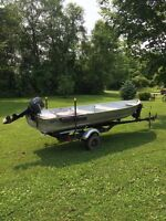 14' aluminum boat with trailer and motor