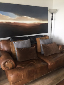 Rustic Brown Leather Loveseat Couch