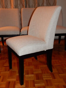 Dining Chairs: Natural Cream Fabric & brown wooden legs-Bouclair