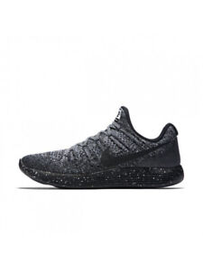 BNIB Nike Men LunarEpic Low Flyknit 2 Shoes - Grey/Black/Blue