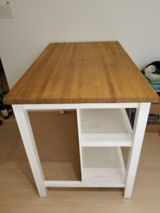 Custom-made solid white oak rustic distressed kitchen island