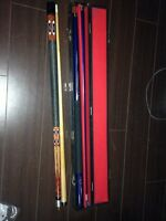 pool cue - pair 2 piece cues