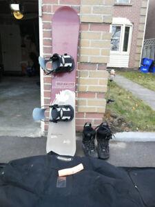 Nitro 152cm men's snowboard w/ bindings, boots, And Snowboard Ba