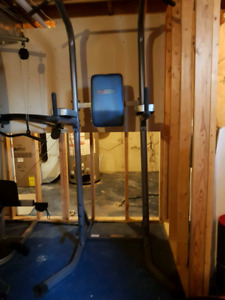Chin-up machine, weight bench, barbell and plates - orangeville