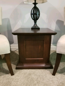 Pair of wood end tables from leons for refinishing